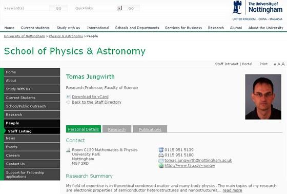 Profil Tomáš Jungwirtha na internetových stránkách univerzity v Nottinghamu