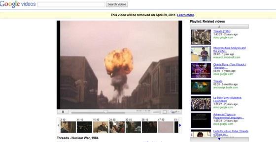 Britský film Threads na Google Video zůstane už jen do konce dubna