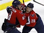 RUSKÁ DVOJKA. Alex Sjomin (č. 28) a Alex Ovečkin zařídili svými góly výhru Washingtonu 2:1 v prvním zápase play-off proti NY Rangers.