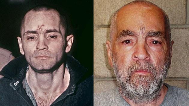 Masový vrah Charles manson na snímku z roku 1971 (vlevo) a na novější fotografii z roku 2009