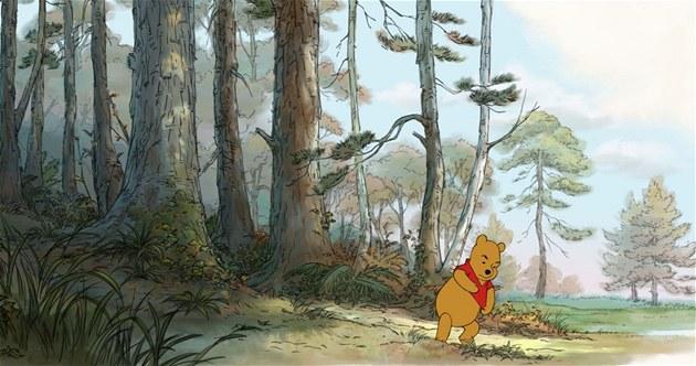 Medvídek Pú na kraji Stokorcového lesa.