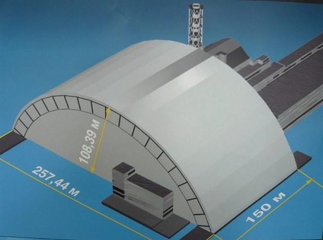 Ilustrace nového Oblouku ve finální podobě nad budovou IV. bloku
