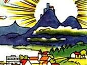 Pohled na krajinu u Třeskoprsk z příběhu Cesta kolem světa