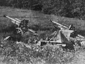 Opuštěná německá dělostřelecká baterie v Krásném Poli.