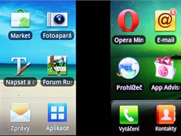 Displej Samsungu Galaxy S a LG Optimus 2X(detail)