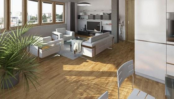 Pilotní bytový projekt společnosti YIT - KOTI Hostivař, obývací pokoj