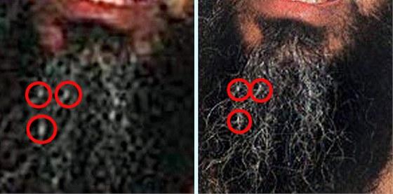 Identické detaily dokazují grafickou úpravu fotografie mrtvého Usámy bin Ládina.