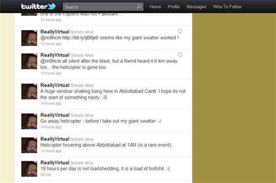 Twitter Sohaiba Athara informující o útoku