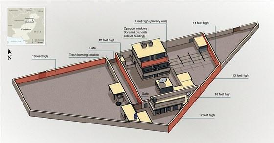 Nákres útočiště Usámy bin Ládina v pákistánském Abbottábádu