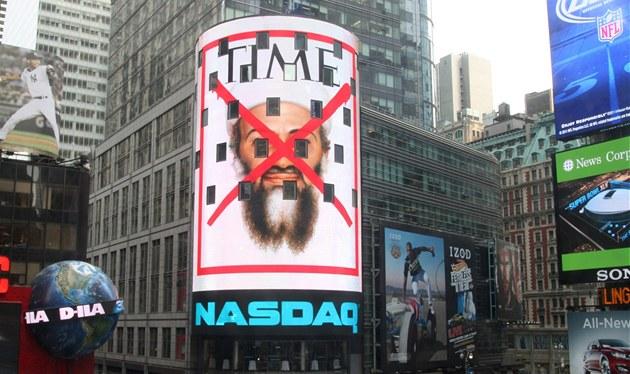 Reklama v New Yorku na zvlá�tní vydání magazinu Time (3. kv�tna 2011)