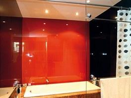 Stěny koupelny pokrývá sklo.