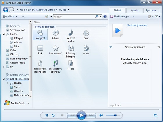 Windows Media Player najde další multimediální zařízení v síti, umí zařadit jejich obsah do knihovny médií a přehrávat je
