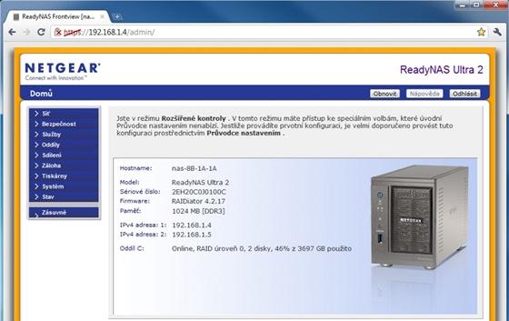Funkce NAS zařízení se nastavují prostřednictvím ovládacího rozhraní přístupného v internetovém prohlížeči