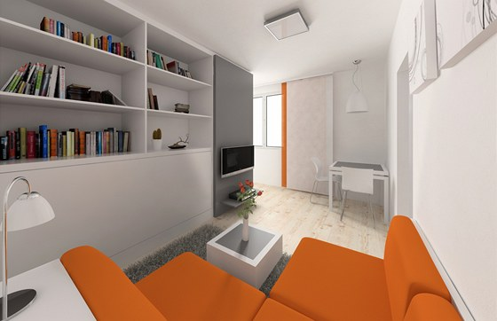 Varianta č. 1: přední část pokoje slouží jako obývák a jídelna. Posuvný panel s televizí má kabeláž uloženou v dvojitém dnu. V případě sledování televize si ji majitelka umístí tam, kde jí to bude nejlépe vyhovovat.