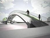 Návrh lávky přes Tyršovu ulici a řeku Mži v Plzni od architekta Libora Monharta