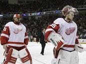 Brank��i Joey MacDonald (vlevo) a Jimmy Howard letos s Detroitem Stanley Cup nevyhraj�.