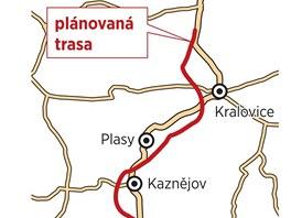 Mapka nové silnice z Plzně na Most