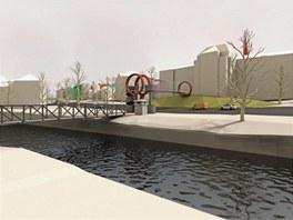Návrh lávky přes Tyršovu ulici a řeku Mži v Plzni od architekta Ondřeje Císlera
