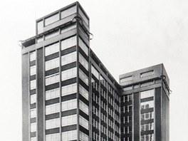 Správní budova Baťových závodů z roku 1940. Hlavní vchod do mrakodrapu vedl z továrního areálu, vchod ze třídy Tomáše Bati se dostavěl až za éry komunismu.