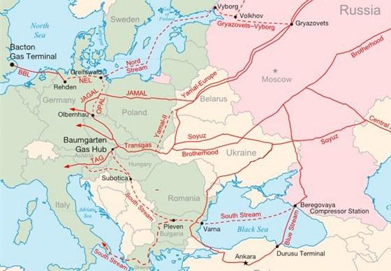 Plynovody Nord Stream a South Stream Rusku umožní vyhnout se dodávkám přes střední Evropu. Zdroj: Wikimedia Commons