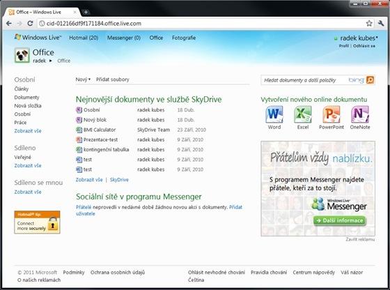 Internetové úložiště SkyDrive s kapacitou 25 GB lze použít nejen na ukládání dokumentů zpracovávaných v internetové verzi kancelářských aplikací, ale především i k synchronizaci dat mezi více počítači