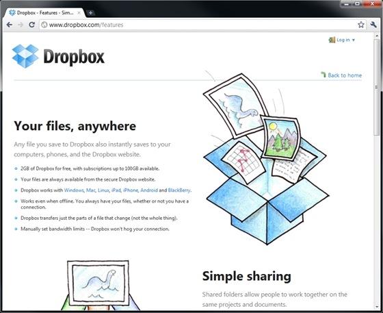 Dropbox sice nabízí podstatně menší kapacitu než SkyDrive, na druhou stranu jej lze používat i v mobilech a uchovává historii souborů