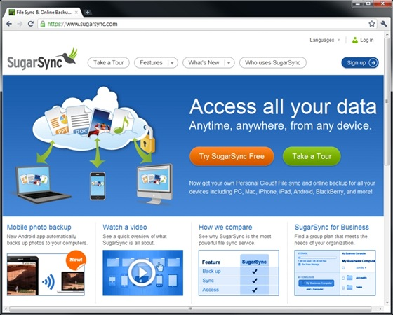 Úložiště SugarSync podporuje mnoho různých typů mobilních zařízení a nabízí bohatá nastavení pro ukládání, synchronizaci a sdílení dat