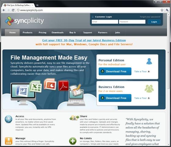 Se službou Syncplicity získáte zdarma prostor o kapacitě 2 GB, možnost přístupu k uloženým datům pomocí mobilního telefonu nebo synchronizaci dokumentů z on-line kancelářských aplikací Google