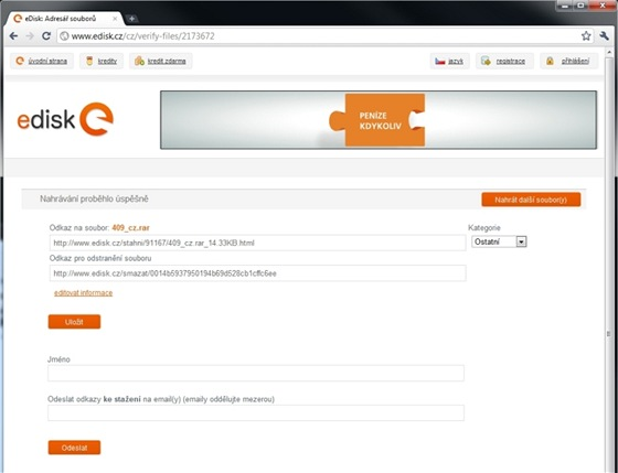 Slu�ba eDisk umo�n� bezplatn� nahr�vat soubory o velikosti nejv�e 2 GB