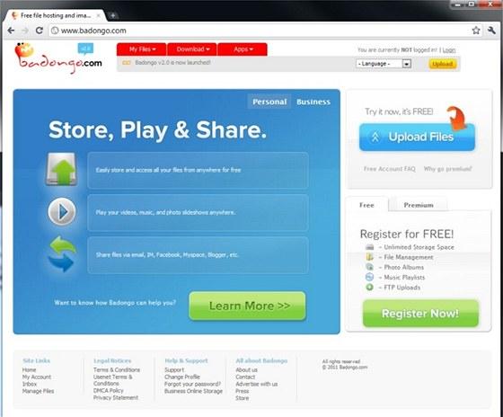 Internetová služba Badongo.com nelimituje objem uložených dat, pro výměnu souborů s ostatními uživateli se ani nemusíte registrovat