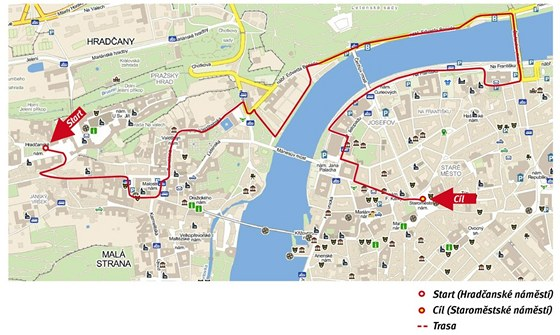 Mapka trasy Běhu pro gorily 2011; letos trasa měří zhruba 4,6 km.