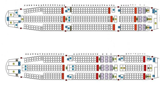 Rozsazení cestujících v letadlech Airbus 330 a 340 společnosti AirAsia X