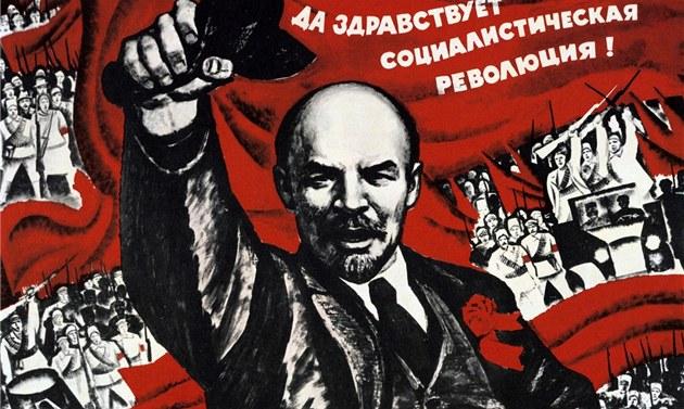 Vůdce bolševické revoluce Vladimír Iljič Lenin na propagandistickém plakátu