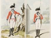 Britský voják s bajonetem - uniforma z roku 1792