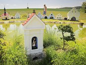 Jiří Bauer si na své zahradě po sázce s kamarády postavil zmenšený model vesnice Plešovice.