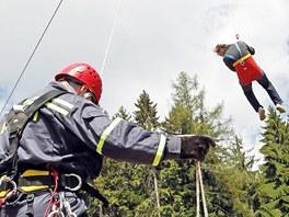 Cvičení záchranářů na lanovce v Červené Vodě (25. května 2011)