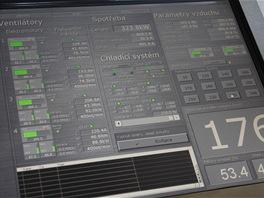 SkyDive Arena - displej kontrolního pracoviště