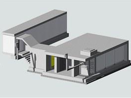 Vizualizace betonového bunkru.