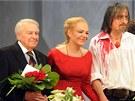 Pavel Kohout, Dagmar Havlov� a Martin Stropnick� p�i d�kova�ce premi�ry Cyrana ve vinohradsk�m divadle