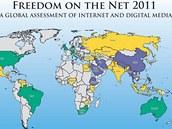 Mapa internetové svobody podle FreedomHouse.org