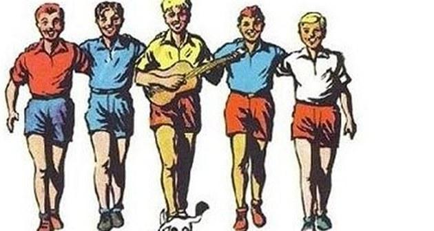 Rychlé �ípy. Slavní komiksoví hrdinové - zleva Rychlono�ka, Jarka Metelka, Mirek Du�ín, �ervená�ek, Jindra Hojer a pes Bublina.
