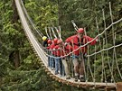 Turisté na lanovém most� nedaleko Ketchikanu na Alja�ce
