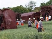 Odstra�ování následk� nehody na �eleznici u Topolan na Vy�kovsku, kde v ned�li 5. �ervna vykolejil nákladní vlak.