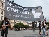 Demonstrace za Technopark v Pardubicích