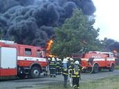 Požár pneumatik v Boru u Skutče
