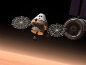 Na základě Orionu vyvinutý prostředek MPCV v představě ilustrátora nad Marsem