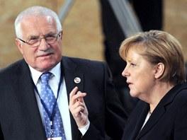 Prezident Klaus a německá kancléřka Merkelová