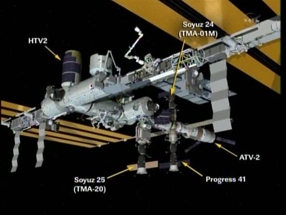 ISS a tři nákladní lodi s dvěma dopravními Sojuzy