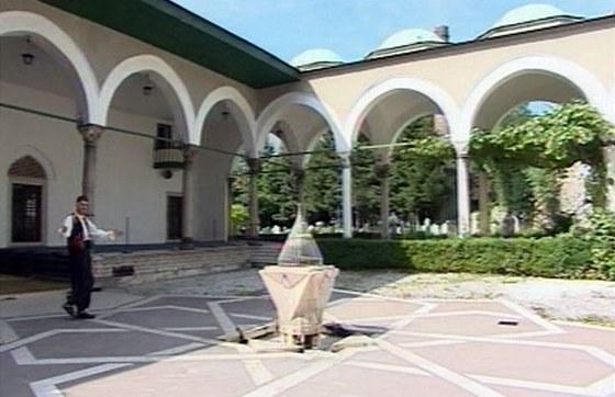 Žasnoucí David Vávra v ulema-medžilis (sídlo církevního společenství), Sarajevo, Karel Pařík, 1911