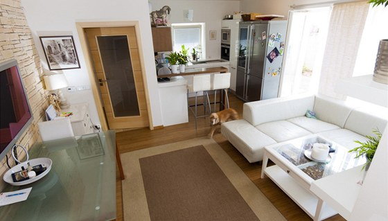 Obývací pokoj má přímý výstup na zahradu, což vyhovuje nejen rodině, ale i oběma kokršpanělům.